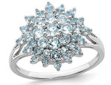 Genuine Aquamarine Cluster Ring 3/4 Carat (ctw) in Sterling Silver