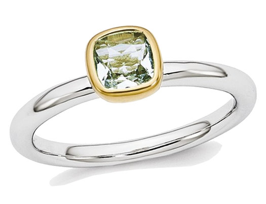 1/2 Carat (ctw) Natural Aquamarine Ring in Sterling Silver with 14K Accent