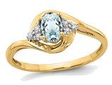 14K Yellow Gold Genuine Aquamarine Promise Ring 3/5 Carat (ctw)
