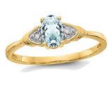 14K Yellow Gold Genuine Aquamarine Promise Ring 2/5 Carat (ctw)