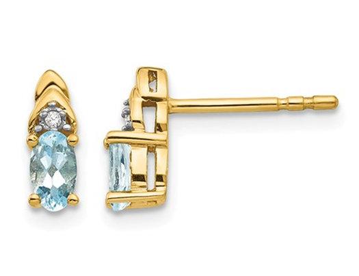 14K Yellow Gold Natural Aquamarine Earrings 2/5 Carat (ctw)