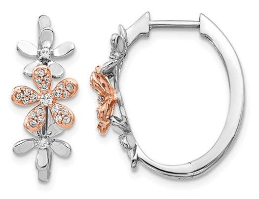 1/5 Carat (ctw) Diamond Flower Hoop Earrings in 14K White Gold