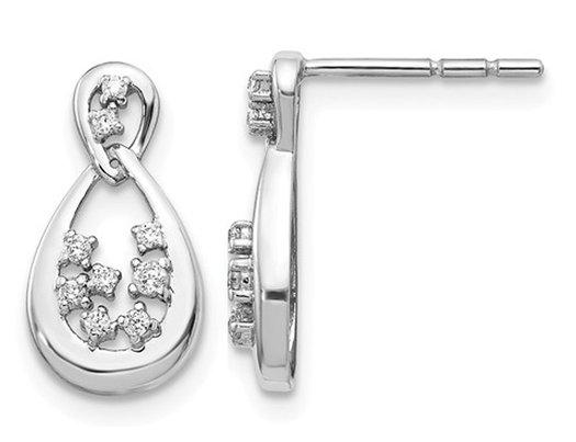 1/8 Carat (ctw I2-I3, H-I) Diamond Drop Earrings in 14K White Gold