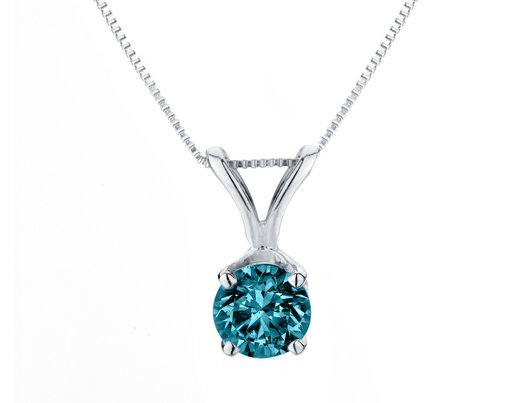 1/3 Carat (ctw I2-I3) Blue Diamond Solitaire Pendant Necklace in 14K White Gold with Chain