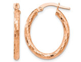 Textured Oval Hoop Earrings in 14K Rose Pink Gold (2.25 mm Thick)