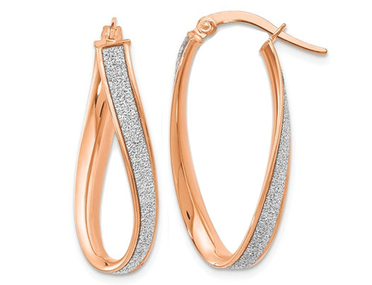 14K Rose Pink Gold Glimmer Infused Twist Hoop Earrings