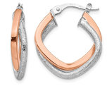 14K Rose Pink Gold Glimmer Infused Hinged Hoop Earrings