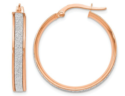 14K Rose Pink Gold Glimmer Infused Hoop Earrings