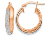 14K Rose Pink Gold Fancy Glimmer Infused Hoop Earrings