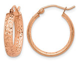 Diamond Cut IN and Out Hoop Earrings in 14K Rose Pink Gold