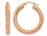 14K Rose Pink Gold Twisted Hoop Earrings (1 1/2 Inches)
