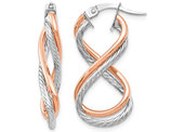 14K Rose Pink Gold Twisted Textured Infinity Earrings