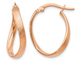 14K Rose Pink Gold Polished Oval Twist Hoop Earrings