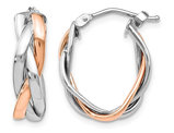 14K Rose Pink and White Gold Twisted Polished Hoop Earrings