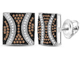 1/2 Carat (ctw I2-I3) Enhanced Champagne Brown and White Square Diamond Post Earrings in Sterling Silver