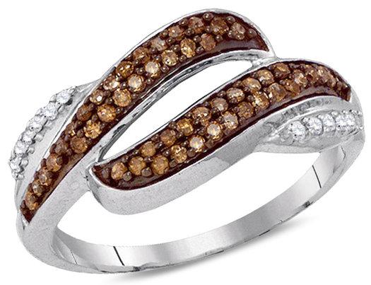 1/3 Carat (ctw I2-I3) Champagne Diamond Ring in 10K White Gold