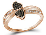 Enhanced Champagne and White Diamond Heart Promise Ring in 10K Rose Pink Gold 1/10 Carat (ctw Color J-K Clarity I2-I3)