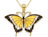 Butterfly Pendant Necklace in 14K Yellow Gold with Chain