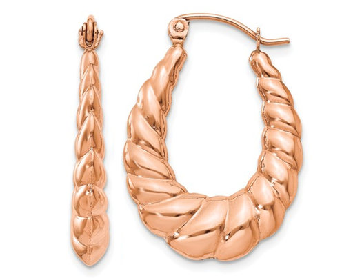 14K Rose Pink Gold Polished Twisted Hoop Earrings