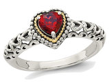 Natural 5mm Garnet Ring in Sterling Silver with 14K Gold Accents