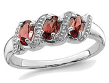3/4 Carat (ctw) Three Stone Garnet Ring in Sterling Silver