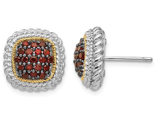 2/3 Carat (ctw) Natural Garnet Post Earrings with 14K Gold Accents in Sterling Silver