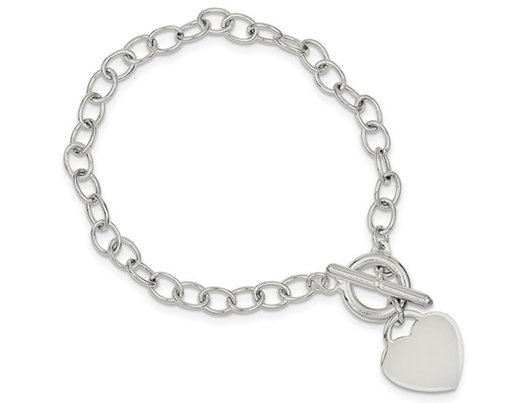 Classic Sterling Silver Toggle Heart Tag Charm Bracelet