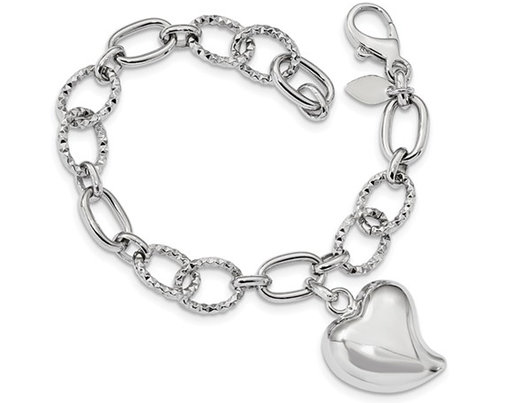 Sterling Silver Puffed Heart Polished Bracelet