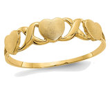 Ladies 14K Yellow Gold Triple Heart Promise Ring