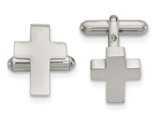 Stainless Steel Polished Cross Cuff Links