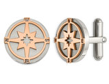 Stainless Steel Rose Plated Compass Cuff Links