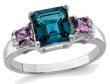 London Blue Topaz and Amethyst Ring 1.90 Carat (ctw) in Sterling Silver