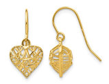 14K Yellow Gold Diamond Cut Puffed Heart Dangle Earrings