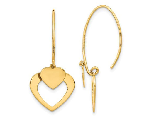 14K Yellow Gold Polished Heart Dangle Earrings