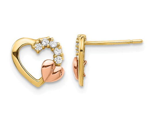 Open Heart Post Earrings in 14K Yellow and Rose Pink Gold with Synthetic Zirconias