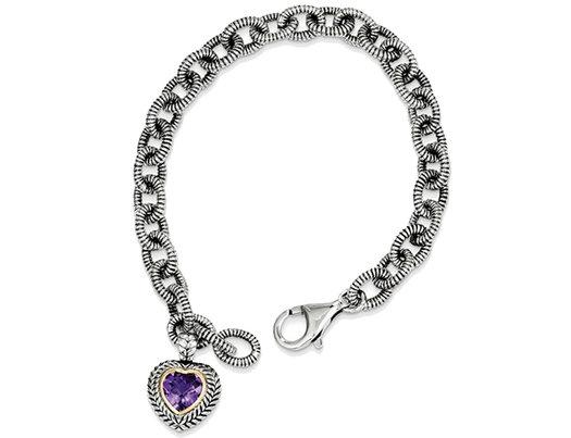 Sterling Silver 1.39 Carat (ctw) Amethyst Heart Link Bracelet