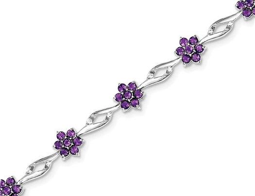 4.00 Carat (ctw) Amethyst Flower Bracelet in Sterling Silver
