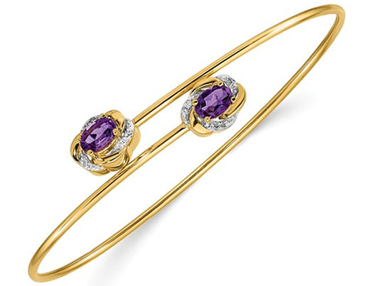 14K Yellow Gold 1.00 Carat (ctw) Purple Amethyst Bangle Bracelet with Accent Diamonds