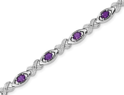 3.40 Carat (ctw) Amethyst Infinity Bracelet in Sterling Silver