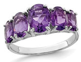 3.40 Carat (ctw) Five-Stone Amethyst Ring in Sterling Silver