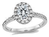 1.25 Carat (ctw) (1.30 Ct. Look) Synthetic Moissanite Halo Engagement Ring in 14K White Gold
