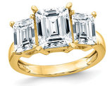 2.50 Carat (ctw 2.90 Diamond Look) Emerald Cut Synthetic Moissanite Engagement Ring in 14K Yellow Gold