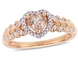 1/2 Carat Natural Morganite Heart Promise Ring in 10K Rose Pink Gold with Diamonds