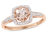 4/5 Carat Natural Morganite Engagement Ring 10K Rose Pink Gold with Diamonds