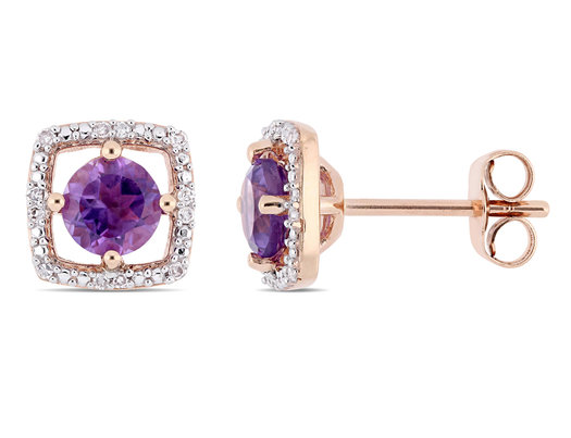 4/5 Carat (ctw) Natural Amethyst Halo Earrings in 10K Rose Pink Gold with Diamonds