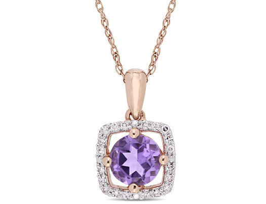 Natural 5/8 Carat (ctw) Amethyst Solitaire Pendant Necklace in 10K Rose Pink Gold with Chain and 1/10 Carat (ctw) Diamonds