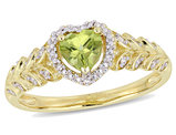 1/2 Carat (cw) Natural Peridot Promise Heart Ring in 10K Yellow Gold with Diamonds