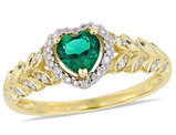 2/5 Carat (ctw) Lab Created Emerald Promise Heart Ring in 10K Yellow Gold with Diamonds