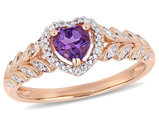 2/5 Carat (ctw) Amethyst Promise Heart Ring 10K Rose Pink Gold with Diamonds