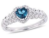 1/2 Carat London Blue Topaz Heart Promise Ring in 10K White Gold